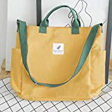 Women's Stylish Tote Bag Handbag Female Canvas Shoulder Bag Large Capacity Light A4 File School Books Travel Shopping Bag with Side Pockets(Yellow)