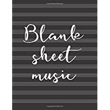 Blank sheet music: Music manuscript paper / staff paper / perfect-bound notebook for composers, musicians, songwriters, teachers and students - Black cover