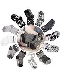 Baby Socks, 12 Pairs Non Skid Anti Slip Cotton Grip Socks...
