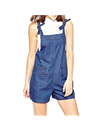 Fashion Womens Deep Blue Pockets Overalls Denim Shorts Jumpsuit Rompers New