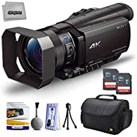Sony FDR-AX100 4K Ultra HD Camcorder Video Camera + 128GB Memory, Carrying Case, , Microfiber Cleaning Cloth