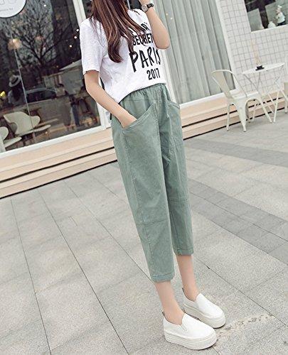 donna Verde con lino casual estivi Estivo Runyue Tasche da in con stile Pantalone Elastico Vita in Pantaloni Pantaloni wYRZTq4
