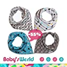 Baby Bandana Drool Bibs , a Cute 4 Pack Set of Unisex Super Absorbent , Soft , 100% Organic Cotton Bibs with 4 Snaps in a Modern Baby Shower Gift Set for Boys and Girls . Baby's Only Organic Formula .