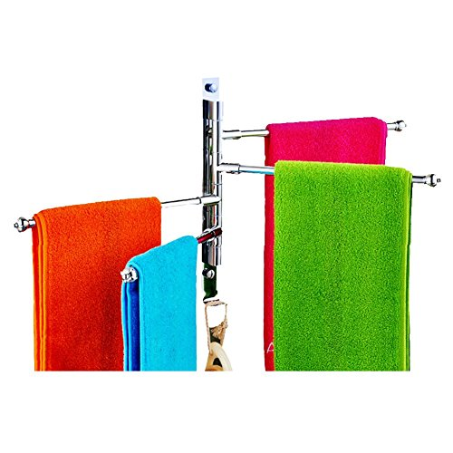 Stainless Steel Towel Holder Swing Towel Holder Wall-Mounted Bathroom Towel Rack Holder With Extra Long 4 Bars Swivel Bars (31x29.5 cm) by Feian (Image #5)