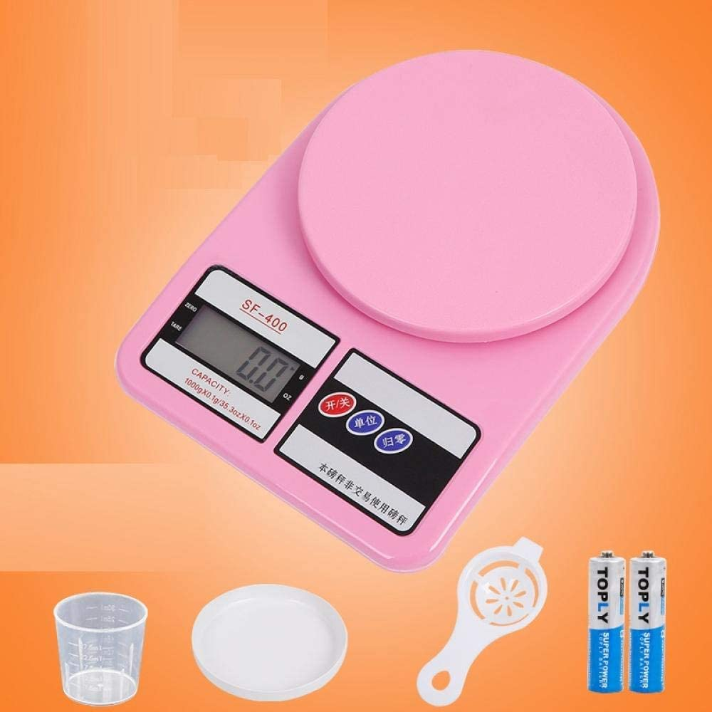 HTL Scales Kitchen Scales Kitchen Commercial Scale Small Gram Scale Milk Tea Coffee Drink Shop Kitchen Baking Food Scale,Pink 10Kg / 1G Backlight,Send Four Sets