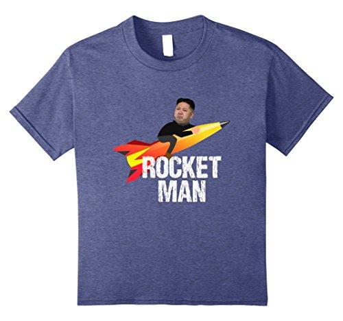 North Korea Halloween Costume (Kids Trump Rocket Man Kim Jong Un North Korea Funny T-Shirt 10 Heather Blue)