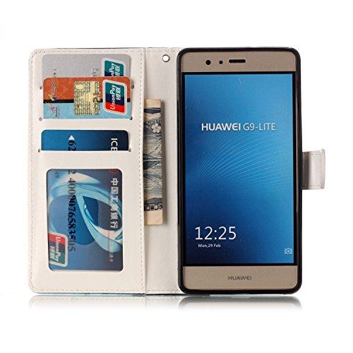 Funda Huawei P9 lite,SainCat Funda de cuero sintético tipo billetera con de Suave PU Carcasa Con Tapa y Cartera, Elegante Estuche Caja,Pintado en relieve árbol Cuero de la PU Leather Cubierta Plegable Lobo