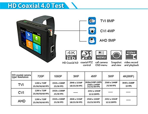 4K 5 in 1 IP Camera Tester, IP/TVI/CVI/AHD/CVBS Camera Monitor Test, 4 inch Monitor Touch Screen, POE/IP Discovery/Rapid ONVIF/Camera Test Report, 1800ADH-Plus CCTV Tester by AP Security (Image #4)