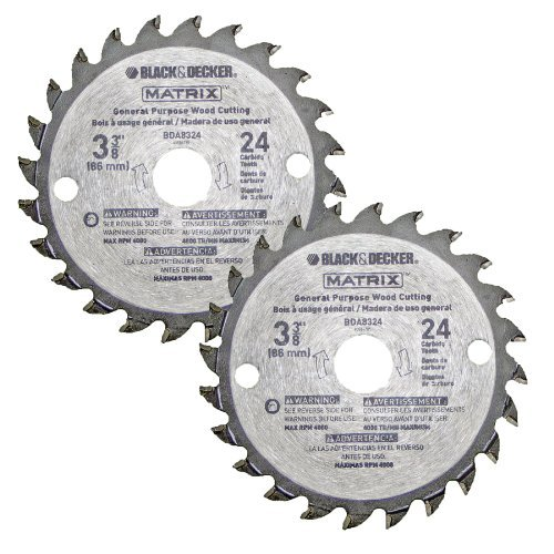 "Black & Decker BDCMTTS Matrix Saw (2 Pack) Replacement 3-3/8"" 24t Carbide Blade # 90585148-2pkl"