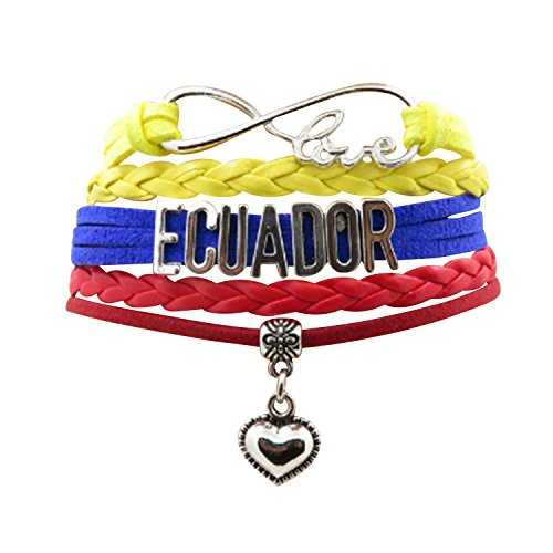 - AccessCube Customized Unisex Infinity Leather Metal Country Flag Bracelet Wristband Cuff (Ecuador)