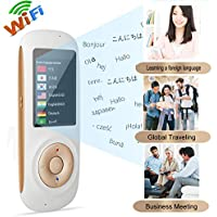 Voice Language Translator Device 45 Languages Voice Translator Device Pocket Smart Two Way Translator WiFi 2.4inch Touch Screen Portable Translation for Learning Travel Business Shopping (Whit)