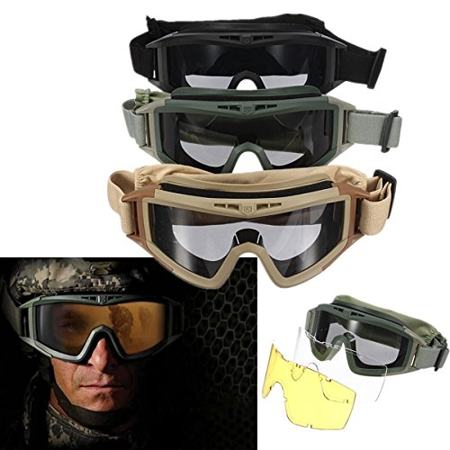 CS Airsoft Explosion-proof Goggle Glasses Eye Protection Mask with 3 Lenses (green) (Green Protection Soft)
