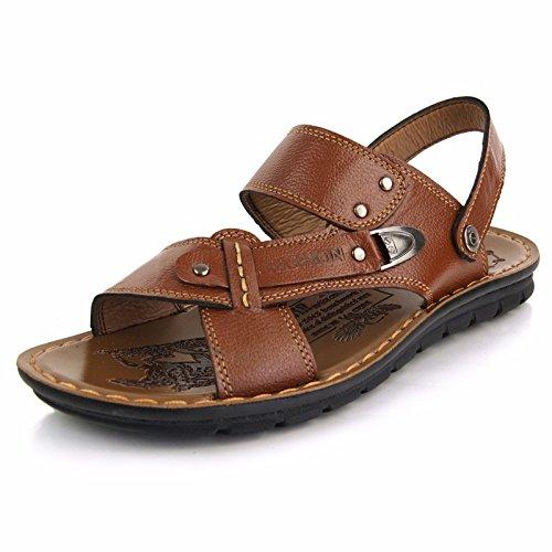 Männer Sommer Echtleder Sandalen Echtleder Strand Schuh draussen Bewegung Freizeit Sandalen Mode Atmungsaktiv Männer Schuh ,Khaki,US=10,UK=9.5,EU=44,CN=46