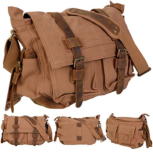 Canvas Diaper Bag In Tan And Black - 7