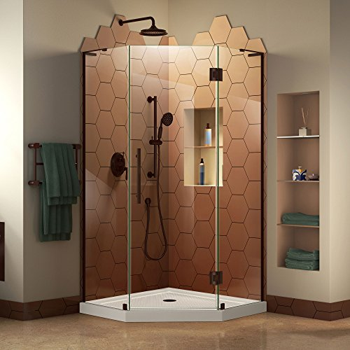 DreamLine Prism Plus 42 in. x 74 3/4 in. Frameless Neo-Angle Shower Enclosure in Oil Rubbed Bronze with White -