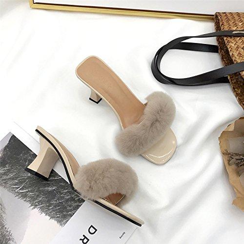 zapatillas versión tacón ZHZNVX de zapatos nueva alto los de coreana apricot de sandalias La zapatos felpa Bw7qEw1a