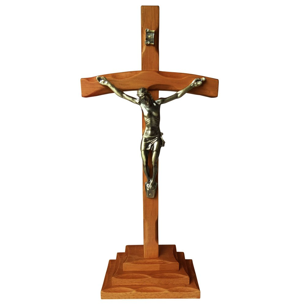 FengMicon Wood Table Cross with Crucifix,13.3 Inch