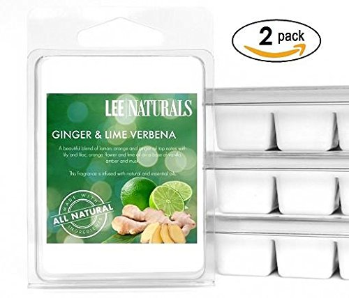 Lee Naturals Classics - (2 Pack) GINGER & LIME VERBENA Premium All Natural 6-Piece Soy Wax Melts. Hand Poured Naturally Strong Scented Soy Wax (Soy Wax Fragrance)