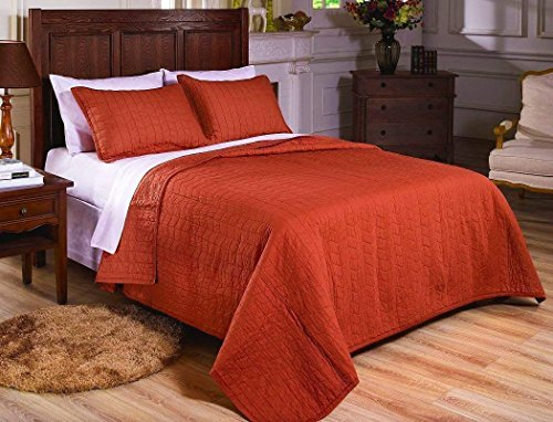 MK Home Mk Collection 3pc Quilted bedspread Embroidery Solid Rust 100% Cotton Pre-Washed New (Full/Queen)