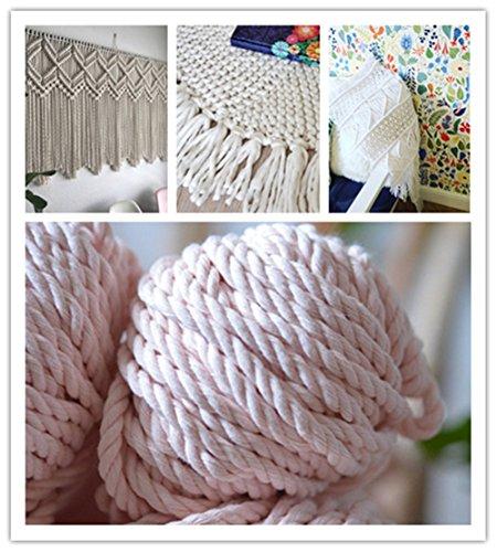 Macrame white cord, cotton rope, macrame rope, cotton cord 5 mm, macrame cord, 5mm cotton twisted rope, cotton rope macrame, diy rope (100 feet) (Curtain Beading)