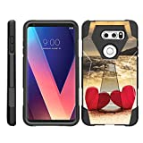 TurtleArmor | Compatible for LG V30 Case | LG V30+ Case | LG V30 Plus Case [Dynamic Shell] Hard Shell Combo Impact Silicone Case Hybrid Shock Kickstand Ocean Beach Design - Red Hearts Love
