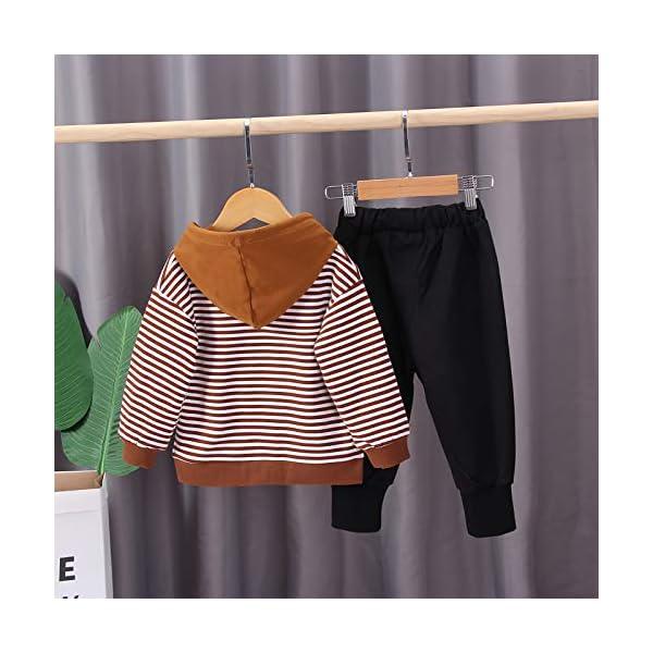 Nwada Abbigliamento Bambino Completi e Coordinati Tuta Sportivi Vestiti a Righe Set Camicia con Cappuccio e Pantaloni 3
