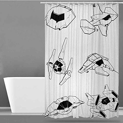 ONECUTE Polyester Shower Curtain,Galaxy Battle Spaceships Future Space Armed Forces Fantastic Galaxy Wars Themed Pattern,for Master, Kid's, Guest Bathroom,W72x96L Black White