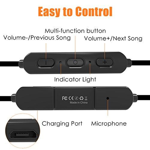 Sunvito Auriculares V4.2 DE Bluetooth Tipo Cuello para Deportes, Auriculares con Microfono de Manos Libres Resistente al Sudor Sonido Estéreo con Micrófono ...