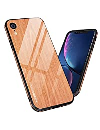 BeautyWill iPhone XR Tempered Glass Case Wood Texture 9H Anti-Scratch Soft TPU Bumper Cover (Yellow)