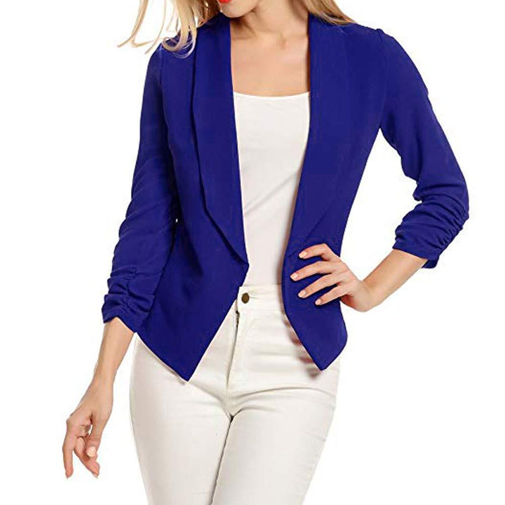 WUAI Womens Formal Business Lightweight Jackets Work Office Blazer Open Front Long Sleeve Cardigan Jacket(Blue,Small)