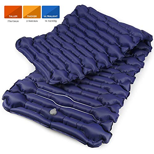 Bessport Camping Sleeping Pad-Mat, (Large, Wide), Ultralight 14.1 OZ Camping Mat Pad for Backpacking, Hiking Air Mattress- Lightweight, Inflatable & Compact Carrying Bag with Repair Kit-Blue