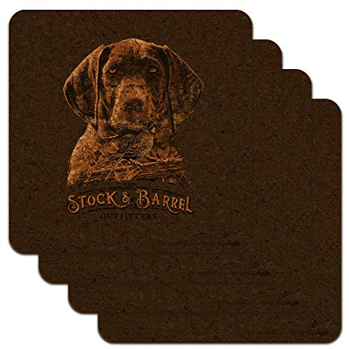 Stock and Barrel Outfitters Pointer Dog Quail Hunting Low Profile Novelty Cork Coaster Set