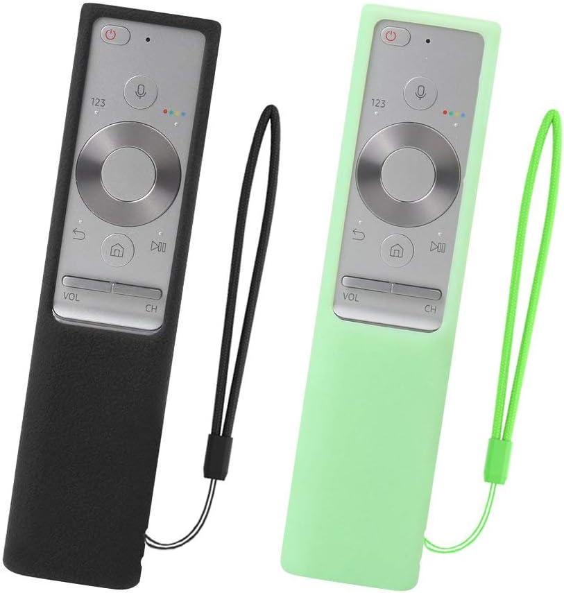 SIKAI 2-Pack Antideslizante Funda de Silicona Compatible con Samsung QLED Mando a Distancia BN59-01265A BN59-01274A Caso a Prueba de Golpe (Negro-Luminoso Verde): Amazon.es: Electrónica