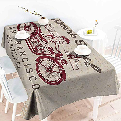 PEONIY&HOME Fitted Rectangle Table Cloth,Retro,Bikers Soul San Francisco Emblem with Skull Wings Riding Motorcycle Dead Illustration,Beige Ruby 70