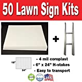 Box of 50 quanity Blank Yard Signs 18x24 with h-stakes for Garage Sales Signs, Graduations, or Political Lawn Sign