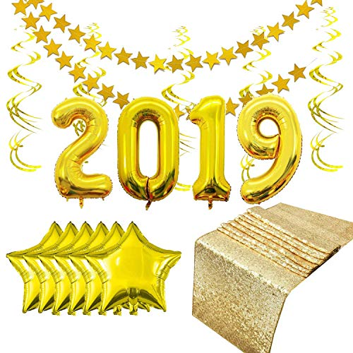 (Gold Decoration Set for Graduation & New Years. Includes Gold Sequin Table Runner (12in x 108in), Glitter Star Garland, Gold Ceiling Spirals, & Huge 2019 Balloons. Happy New Year Decorations)