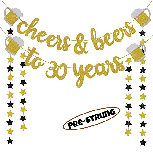 30th Birthday Decor (30th Birthday Decorations for Him/Her - 30th Birthday Gifts - Cheers & Beers to 30 Years Gold Glitter Banner - 30th Anniversary Decorations for Party, 30th Wedding Party Supplies for)