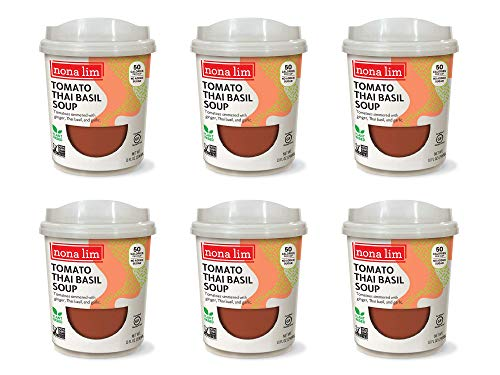 Nona Lim Soup Heat & Sip Cups, Tomato Thai Basil - Vegan, Gluten Free, Dairy Free, Non GMO (10 oz, 6 Count) - Packaging May Vary