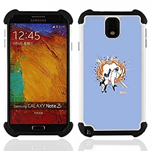 GIFT CHOICE / Defensor Cubierta de protección completa Flexible TPU Silicona + Duro PC Estuche protector Cáscara Funda Caso / Combo Case for Samsung Galaxy Note 3 III N9000 N9002 N9005 // Shark Gorilla Animals Friendship Art Quote //