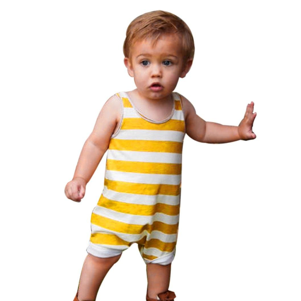 squarex Baby Jumpsuit, Boys Girls Striped Sleeveless Romper Outfits Clothes