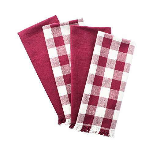 DII Woven Heavyweight Cotton Dish Towels with Decorative Fringe, Absorbent Dishtowels for Drying and Cleaning Kitchen Dishes or Countertops (18x28, Assorted Set of 4) Wine Checker Check Dish Towel