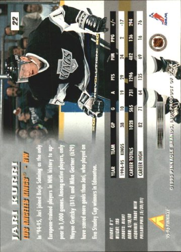 Amazon.com: 1995 Pinnacle Hockey Card (1995-96) #22 Jari Kurri Near Mint/Mint: Collectibles & Fine Art