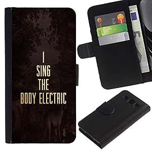 KLONGSHOP / Tirón de la caja Cartera de cuero con ranuras para tarjetas - Music Electric Gold Text Motivational - Samsung Galaxy S3 III I9300