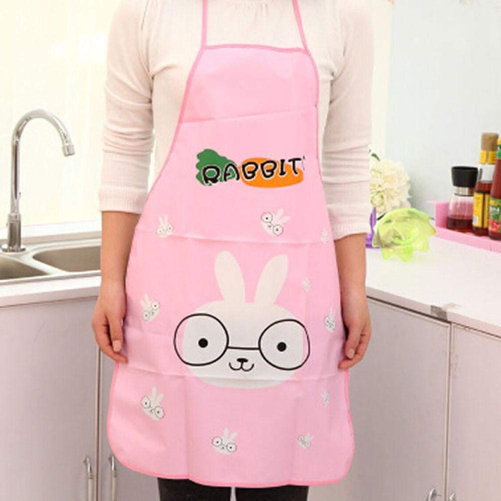 Amaone Apron, Women Aprons Waterproof Cartoon Rabbit Elephant Duck Panda Print PVC Home Kitchen BBQ Baking Cooking Restaurant For Chefs Adult Adjustable Straps