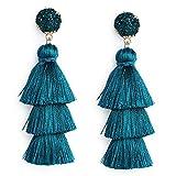 Me&Hz Women's Peacock Blue Tassel Earring Fringe Dangle Statement Tiered Thread Tassel Drop Earrings with Druzy Studs