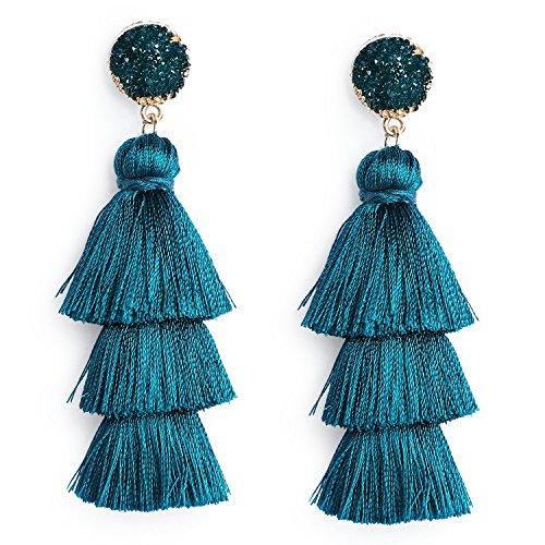 Women's Peacock Blue Tassel Earring Fringe Dangle Earring Statement Tiered Thread Tassel Drop Earrings with Druzy Studs