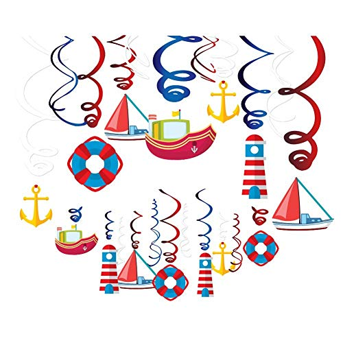 Kristin Paradise 30Ct Nautical Hanging Swirl Decorations, Ahoy Boy Birthday Ceiling Streamers, Baby Shower Theme, Sailor Party Supplies, Cruise Kids Favors, Anchor Sailboat Yacht 1st First Bday Decor