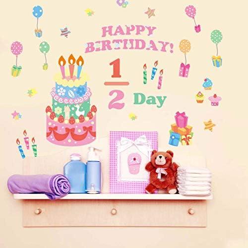 ウォールステッカー ハーフバースデー 誕生日 飾り かわいい おしゃれ 女の子 装飾 かざりつけ 1歳 2歳 ピンク バースデー ペーパーファン バルーン 風船 パーティー 飾りつけ