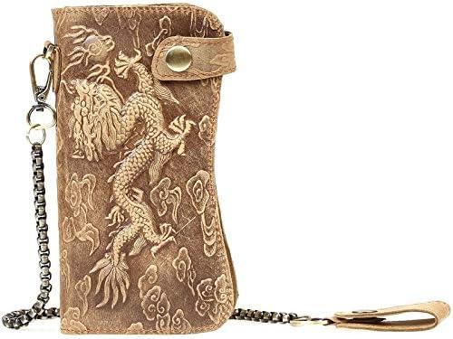 BASDW Carpeta Larga del dragón en Relieve Brazalete Personalizado Embrague Billetera de los Hombres de Cuero Retro (Color : Brown Red, Size : One Size)