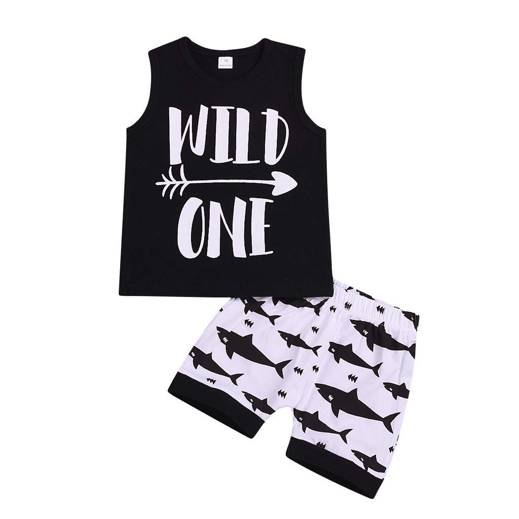 Cyhulu Infant Baby Boys Girls Wild One Letter Print Vest Top and Cartoon Shark Shorts 2Pcs Summer Casual Outfits Set